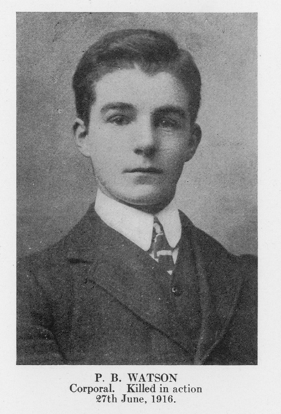 """Photo of Patrick Watson– From the book """"Letters From The Front 1914-1919"""" published by The Canadian Bank of Commerce."""