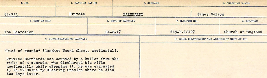 Circumstances of Death– Source: Library and Archives Canada.  CIRCUMSTANCES OF DEATH REGISTERS, FIRST WORLD WAR Surnames:  Bark to Bazinet. Mircoform Sequence 6; Volume Number 31829_B016716. Reference RG150, 1992-93/314, 150.  Page 297 of 1058.