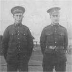 Photo of Harold Barter– This is a picture of Harold (on the left) with his younger brother Forrest (on the right) at Valcartier training camp in 1916. Harold was shot in the stomach on the opening day of the attack on Vimy Ridge and died of his injuries at the Brouay casualty clearing station three days later.  He was 20 years old. He was one of four brothers from Grand Cascapedia, Quebec that served in the Canadian Army during WWI.
