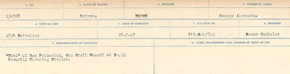 Circumstances of Death Registers– Source: Library and Archives Canada.  CIRCUMSTANCES OF DEATH REGISTERS FIRST WORLD WAR Surnames: Broad to Broyak. Mircoform Sequence 14; Volume Number 31829_B016723; Reference RG150, 1992-93/314, 158 Page 587 of 1128