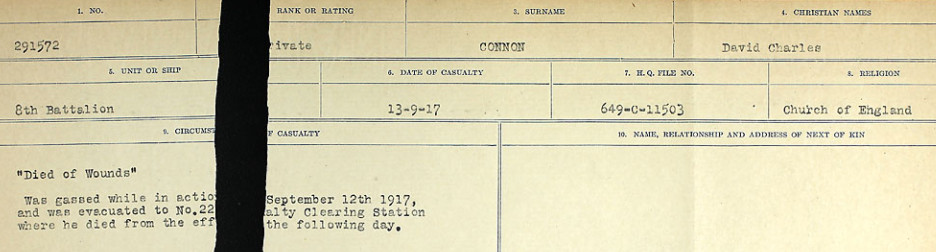 Circumstances of Death Registers– Source: Library and Archives Canada.  CIRCUMSTANCES OF DEATH REGISTERS, FIRST WORLD WAR Surnames:  CONNON TO CORBETT.  Microform Sequence 22; Volume Number 31829_B016731. Reference RG150, 1992-93/314, 166.  Page 813 of 818.