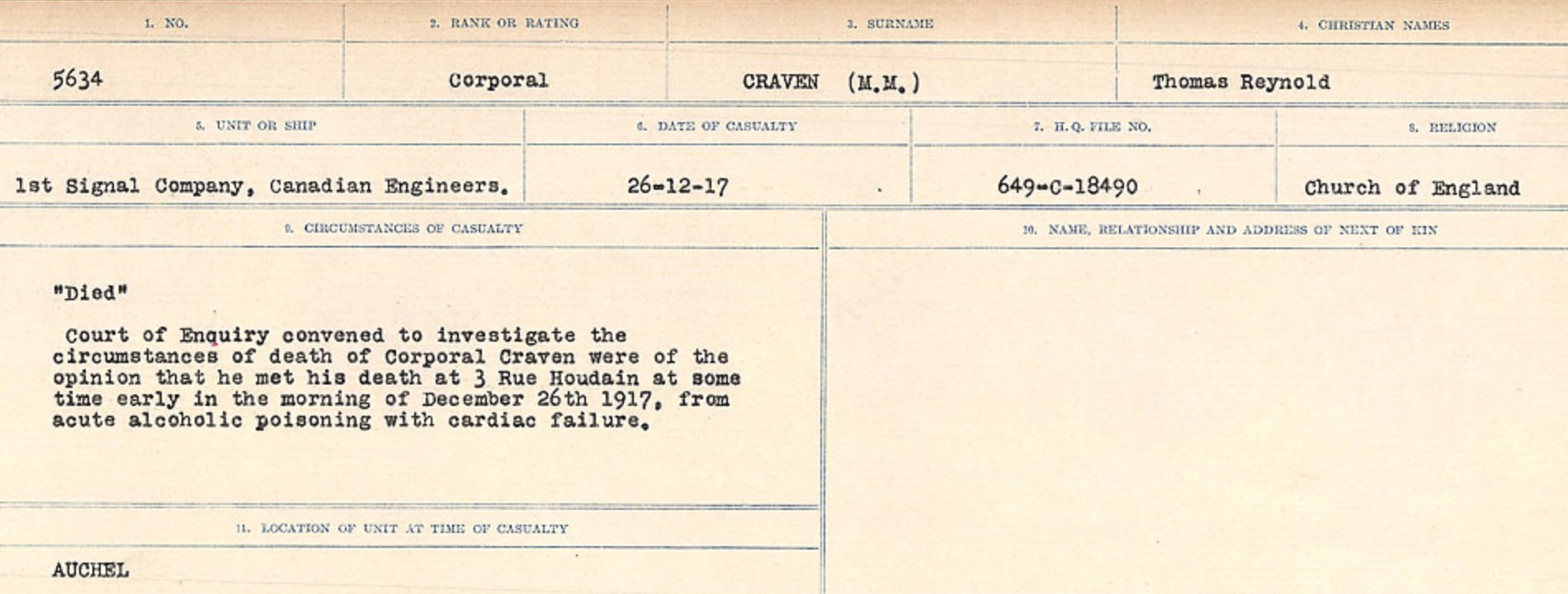 Circumstances of death registers– Source: Library and Archives Canada. CIRCUMSTANCES OF DEATH REGISTERS, FIRST WORLD WAR Surnames: CRABB TO CROSSLAND Microform Sequence 24; Volume Number 31829_B016733. Reference RG150, 1992-93/314, 168. Page 295 of 788.