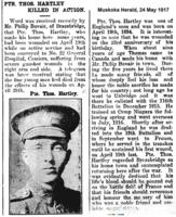 Newspaper clipping– Muskoka Herald 24-May-1917