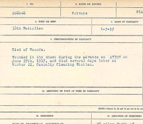 Circumstances of death registers– Private John Francis Sias