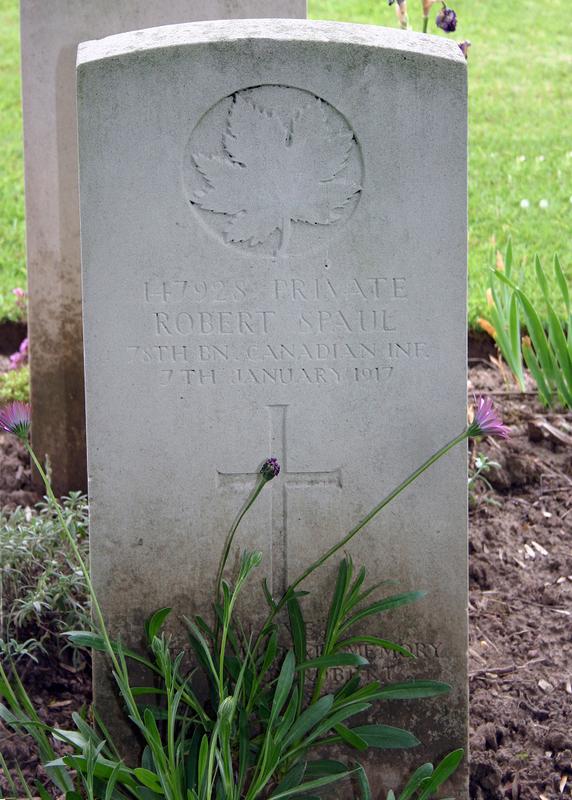 Grave marker– Robert Spaul b.1886 d.1917 Photo of Robert's Grave
