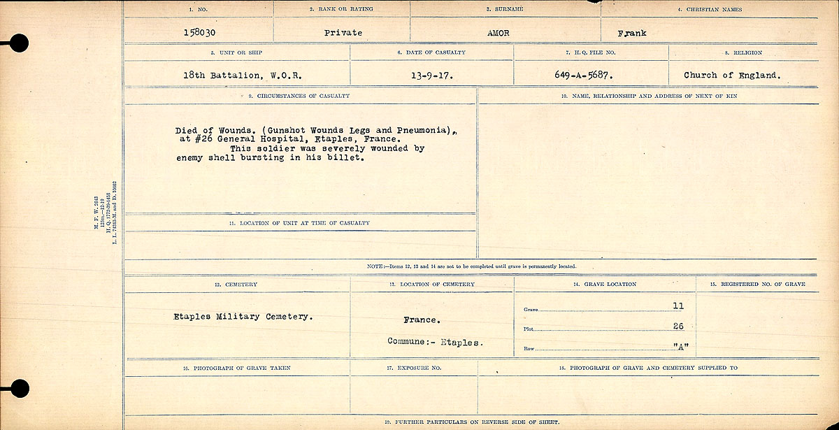 Circumstances of Death Registers– Circumstances of Death Register: Died of Wounds (Gunshot Wounds Legs and Pneumonia) at #26 General Hospital, Etaples. This soldier was severely wounded by enemy shell bursting in his billet.