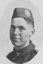 """Photo of Alfred Baker– Photo taken from """"A Short History and Photographic Record of the 73rd Battalion, Canadian Expeditionary Force, Royal Highlanders of Canada"""" Page 33.  ¿C¿ Company.  No. 11 Platoon."""