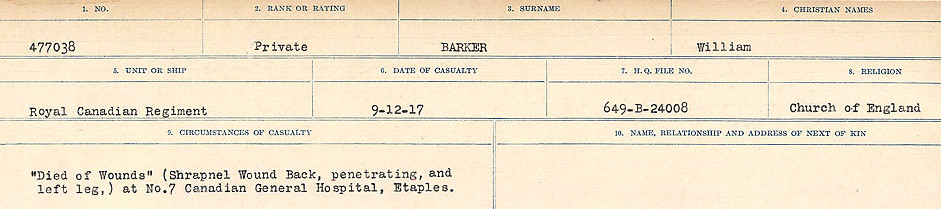 Circumstances of Death Registers– Source: Library and Archives Canada.  CIRCUMSTANCES OF DEATH REGISTERS, FIRST WORLD WAR Surnames:  Bark to Bazinet. Mircoform Sequence 6; Volume Number 31829_B016716. Reference RG150, 1992-93/314, 150.  Page 53 of 1058.