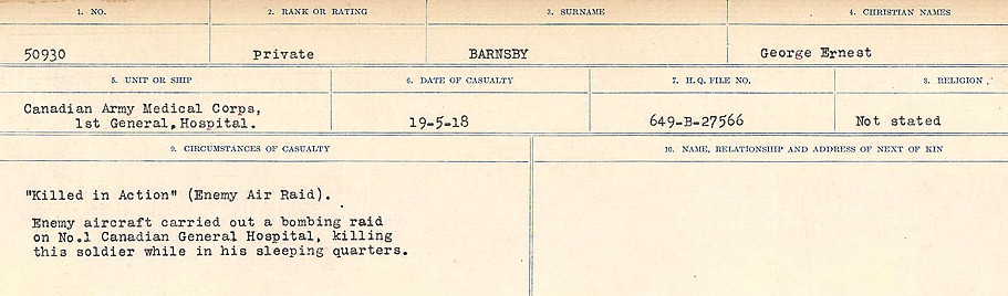 Circumstances of Death– Source: Library and Archives Canada.  CIRCUMSTANCES OF DEATH REGISTERS, FIRST WORLD WAR Surnames:  Bark to Bazinet. Mircoform Sequence 6; Volume Number 31829_B016716. Reference RG150, 1992-93/314, 150.  Page 311 of 1058.