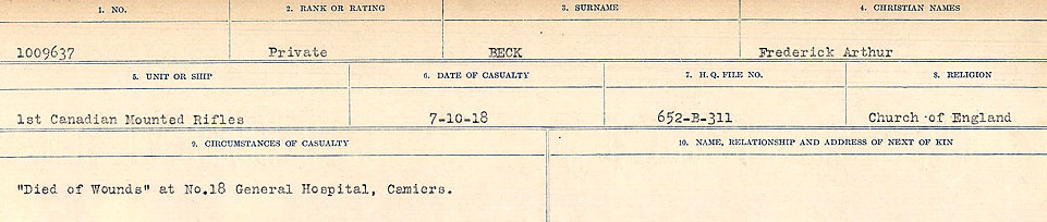 Circumstances of Death Registers– Source: Library and Archives Canada.  CIRCUMSTANCES OF DEATH REGISTERS FIRST WORLD WAR Surnames:  Bea to Belisle. Mircoform Sequence 7; Volume Number 31829_B016717. Reference RG150, 1992-93/314, 151.  Page 397 of 724.