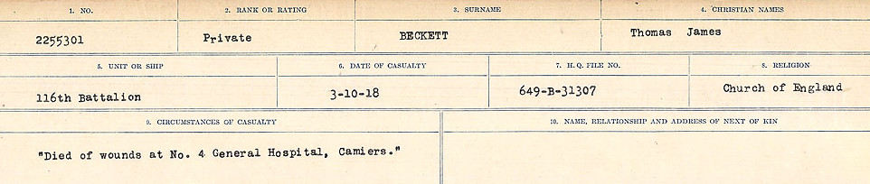 Circumstances of Death Registers– Source: Library and Archives Canada.  CIRCUMSTANCES OF DEATH REGISTERS FIRST WORLD WAR Surnames:  Bea to Belisle. Mircoform Sequence 7; Volume Number 31829_B016717. Reference RG150, 1992-93/314, 151.  Page 453 of 724.