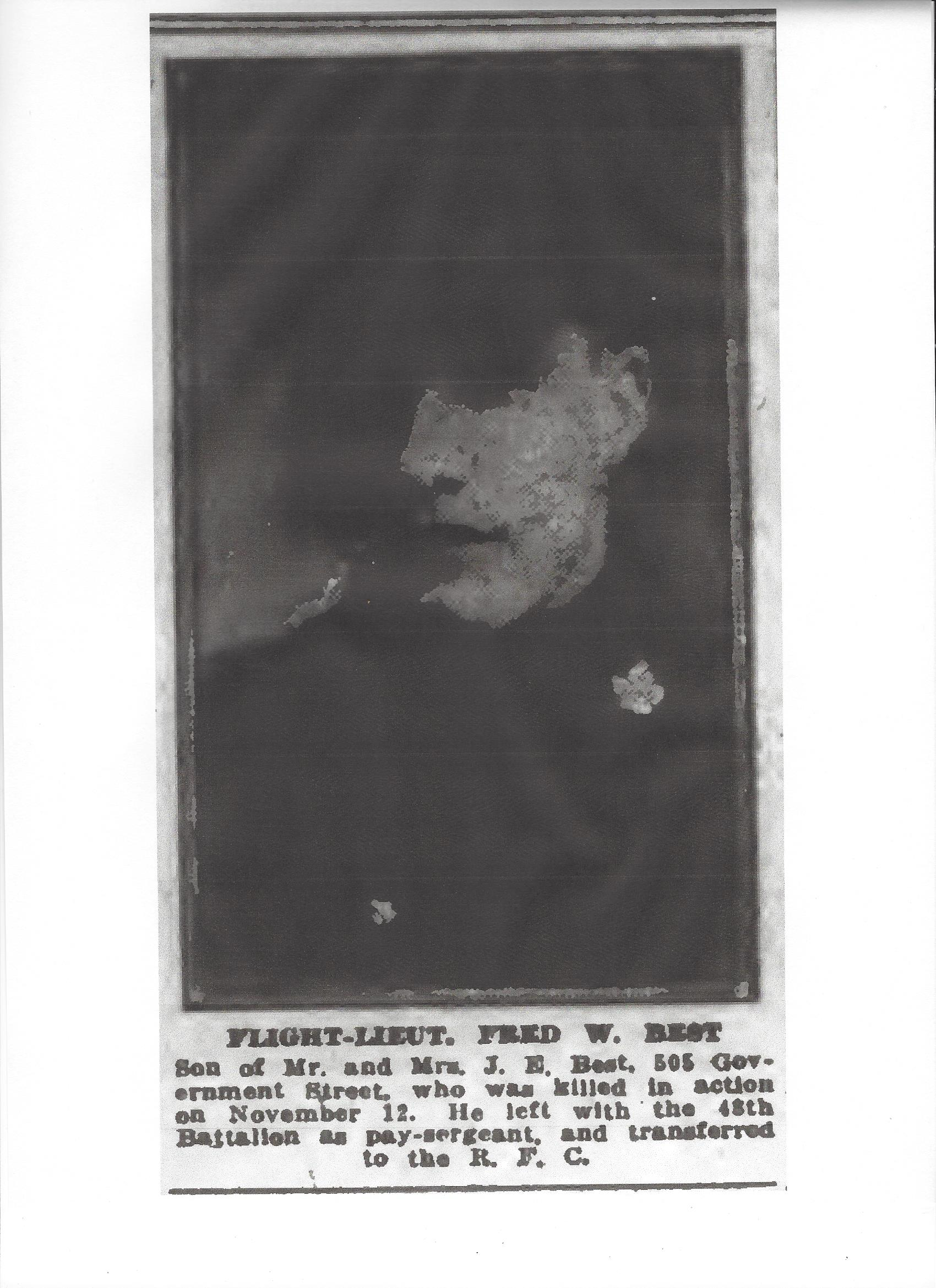 Photo of FREDERICK WEBSTER BEST– Newspaper clipping from the Daily Colonist of November 27, 1917. Image taken from web address of http://archive.org/stream/dailycolonist59y303uvic#page/n0/mode/1up