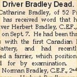 News Paper Article– Pte. Norman Wilfred Bradley is mentioned in this article about the death of his brother Pte. Herbert Bradley.