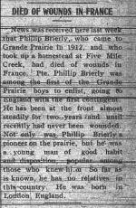 Newspaper clipping– GRAND PRAIREY HERALD SEPTEMBER 4 1917