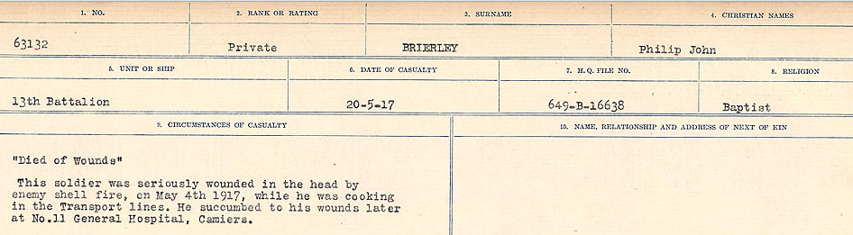 Circumstances of Death Registers– Source: Library and Archives Canada.  CIRCUMSTANCES OF DEATH REGISTERS FIRST WORLD WAR Surnames: Brabant to Britton. Mircoform Sequence 13; Volume Number 131829_B016722; Reference RG150, 1992-93/314, 157 Page 683 of 906