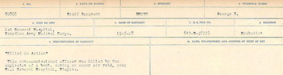 Circumstances of Death Registers– Source: Library and Archives Canada.  CIRCUMSTANCES OF DEATH REGISTERS FIRST WORLD WAR Surnames: Broad to Broyak. Mircoform Sequence 14; Volume Number 31829_B016723; Reference RG150, 1992-93/314, 158 Page 593 of 1128