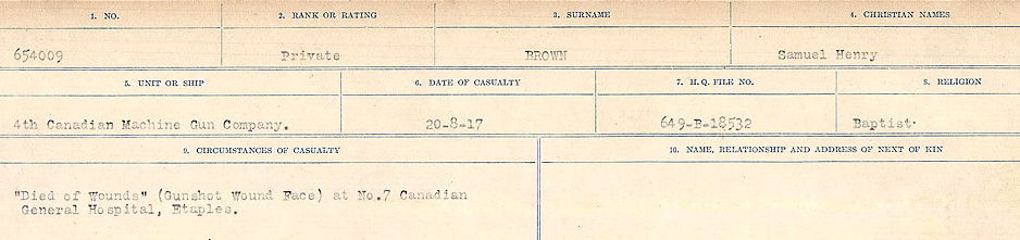 Circumstances of Death Registers– Source: Library and Archives Canada.  CIRCUMSTANCES OF DEATH REGISTERS FIRST WORLD WAR Surnames: Broad to Broyak. Mircoform Sequence 14; Volume Number 31829_B016723; Reference RG150, 1992-93/314, 158 Page 899 of 1128