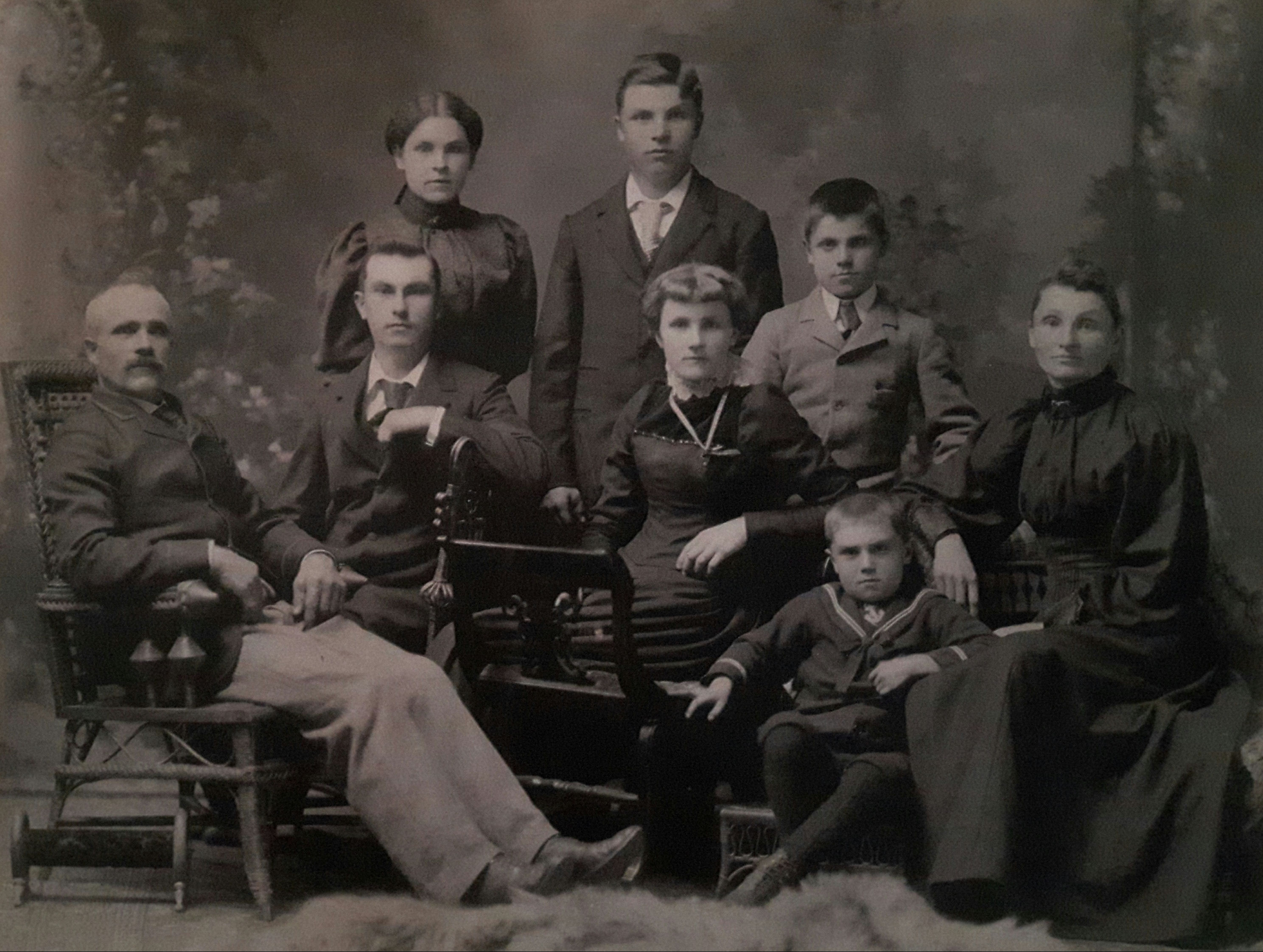 Family Photo– The Brown family portrait from Clinton, Ontario    Standing; Elizabeth Abel Brown   1883 - 1957 Charles Wesley Brown 1881 - 1920 Ernest Edgar Brown  1887 - 1946   Sitting; Father - John brown  1851 -  Frances George Brown  1878 - 1930 Martha Grace (Minnie) Brown  1875 - 1961  * Sammuel Henry Brown *  1891 - 1917 Mother - Mary Ann Pennebaker  1856 - 1914