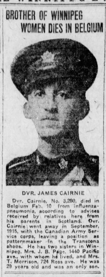 Newspaper Clipping– Winnipeg Tribune, February 24, 1919