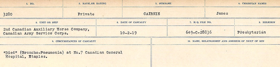 Circumstances of Death Registers– Source: Library and Archives Canada.  CIRCUMSTANCES OF DEATH REGISTERS, FIRST WORLD WAR Surnames:  Cabana to Campling. Microform Sequence 17; Volume Number 31829_B016726. Reference RG150, 1992-93/314, 161.  Page 99 of 1024.