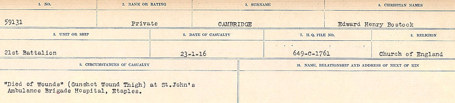 Circumstances of Death Registers– Source: Library and Archives Canada.  CIRCUMSTANCES OF DEATH REGISTERS, FIRST WORLD WAR Surnames:  Cabana to Campling. Microform Sequence 17; Volume Number 31829_B016726. Reference RG150, 1992-93/314, 161.  Page 317 of 1024.