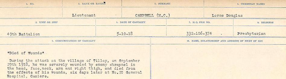 Circumstances of Death Registers– Source: Library and Archives Canada.  CIRCUMSTANCES OF DEATH REGISTERS, FIRST WORLD WAR Surnames:  Cabana to Campling. Microform Sequence 17; Volume Number 31829_B016726. Reference RG150, 1992-93/314, 161.  Page 857 of 1024