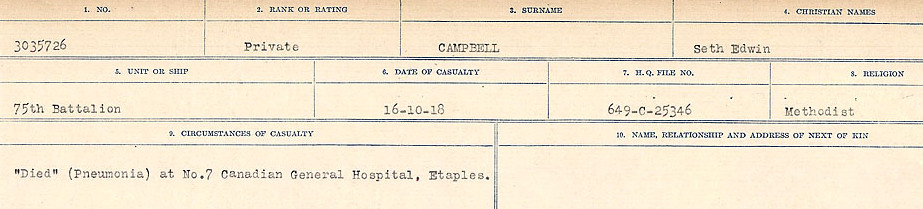 Circumstances of Death Registers– Source: Library and Archives Canada.  CIRCUMSTANCES OF DEATH REGISTERS, FIRST WORLD WAR Surnames:  Cabana to Campling. Microform Sequence 17; Volume Number 31829_B016726. Reference RG150, 1992-93/314, 161.  Page 945 of 1024