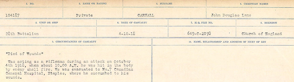 Circumstances of Death Registers– Source: Library and Archives Canada.  CIRCUMSTANCES OF DEATH REGISTERS, FIRST WORLD WAR Surnames:  Canavan to Caswell. Microform Sequence 18; Volume Number 31829_B016727. Reference RG150, 1992-93/314, 162.  Page 345 of 1004.