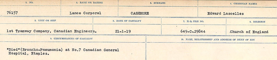 Circumstances of Death Registers– Source: Library and Archives Canada.  CIRCUMSTANCES OF DEATH REGISTERS, FIRST WORLD WAR Surnames:  Canavan to Caswell. Microform Sequence 18; Volume Number 31829_B016727. Reference RG150, 1992-93/314, 162.  Page 911 of 1004.