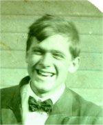 Photo of Frank Chamberlain– Frank David Chamberlain shortly before he enlisted.  Photo says on the back 'Taken on the Hetrick place.'  Photo probably taken in 1917 near Norfolk, Nebraska.