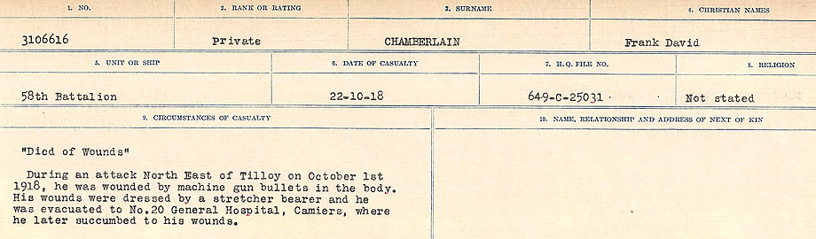 Newspaper Clipping– Source: Library and Archives Canada.  CIRCUMSTANCES OF DEATH REGISTERS, FIRST WORLD WAR Surnames:  CATCHPOLE TO CHIGNELL. Microform Sequence 19; Volume Number 31829_B016728. Reference RG150, 1992-93/314, 165. Page 289 of 958.