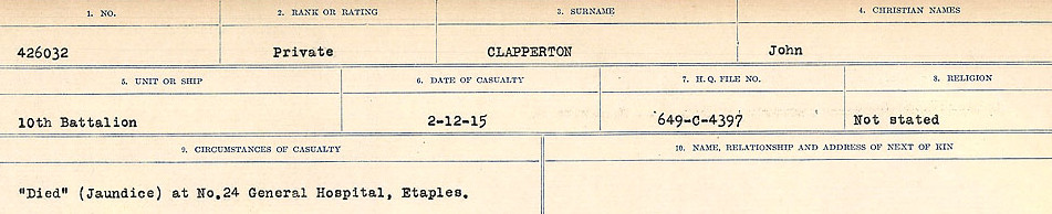 Circumstances of Death Registers– Source: Library and Archives Canada.  CIRCUMSTANCES OF DEATH REGISTERS, FIRST WORLD WAR Surnames:  CHILD TO CLAYTON.  Microform Sequence 20; Volume Number 31829_B016729. Reference RG150, 1992-93/314, 164.  Page of 413 of 1068.