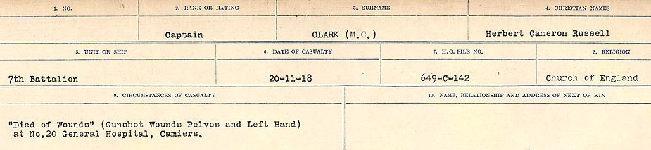 Circumstances of Death Registers– Source: Library and Archives Canada.  CIRCUMSTANCES OF DEATH REGISTERS, FIRST WORLD WAR Surnames:  CHILD TO CLAYTON.  Microform Sequence 20; Volume Number 31829_B016729. Reference RG150, 1992-93/314, 164.  Page of 591 of 1068.