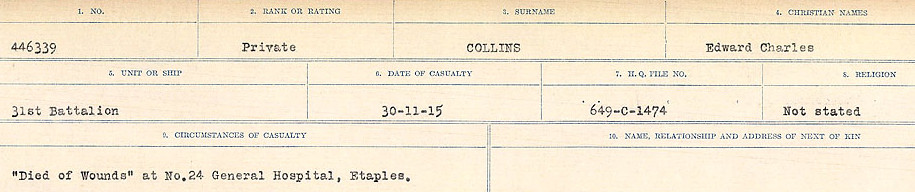 Circumstances of Death Registers– Source: Library and Archives Canada.  CIRCUMSTANCES OF DEATH REGISTERS, FIRST WORLD WAR Surnames:  CLEAL TO CONNOLLY.  Microform Sequence 21; Volume Number 31829_B016730. Reference RG150, 1992-93/314, 165.  Page 937 of 1384.  Initially buried in Camiers Road Cemetery, Etaples and was subsequently reinterred in ETAPLES MILITARY CEMETERY.