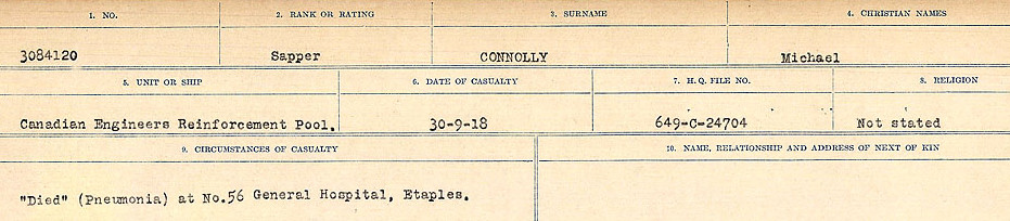Circumstances of Death Registers– Source: Library and Archives Canada.  CIRCUMSTANCES OF DEATH REGISTERS, FIRST WORLD WAR Surnames:  CLEAL TO CONNOLLY.  Microform Sequence 21; Volume Number 31829_B016730. Reference RG150, 1992-93/314, 165.  Page 1369 of 1384.
