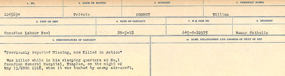 Circumstances of Death Registers– Source: Library and Archives Canada.  CIRCUMSTANCES OF DEATH REGISTERS, FIRST WORLD WAR Surnames:  CONNON TO CORBETT.  Microform Sequence 22; Volume Number 31829_B016731. Reference RG150, 1992-93/314, 166.  Page 85 of 818