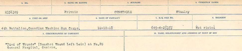 Circumstances of Death Registers– Source: Library and Archives Canada.  CIRCUMSTANCES OF DEATH REGISTERS, FIRST WORLD WAR Surnames:  CONNON TO CORBETT.  Microform Sequence 22; Volume Number 31829_B016731. Reference RG150, 1992-93/314, 166.  Page 97 of 818