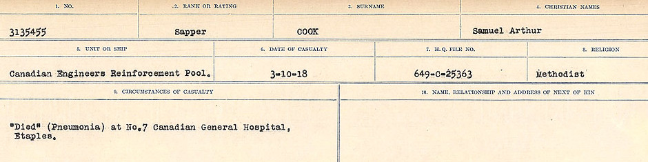 Circumstances of Death Registers– Source: Library and Archives Canada.  CIRCUMSTANCES OF DEATH REGISTERS, FIRST WORLD WAR Surnames:  CONNON TO CORBETT.  Microform Sequence 22; Volume Number 31829_B016731. Reference RG150, 1992-93/314, 166.  Page 309 of 818.