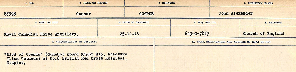 Circumstances of Death Registers– Source: Library and Archives Canada.  CIRCUMSTANCES OF DEATH REGISTERS, FIRST WORLD WAR Surnames:  CONNON TO CORBETT.  Microform Sequence 22; Volume Number 31829_B016731. Reference RG150, 1992-93/314, 166.  Page 633 of 818.