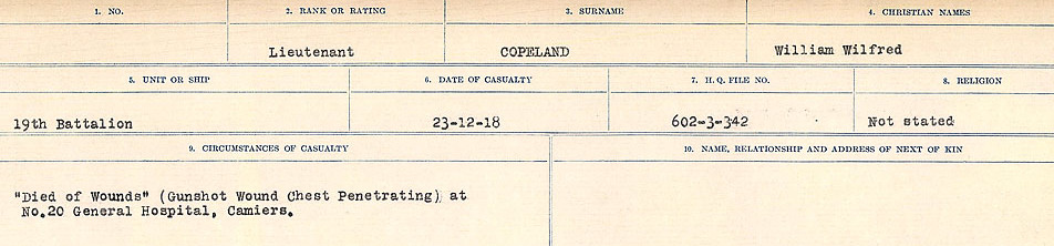 Circumstances of Death Registers– Source: Library and Archives Canada.  CIRCUMSTANCES OF DEATH REGISTERS, FIRST WORLD WAR Surnames:  CONNON TO CORBETT.  Microform Sequence 22; Volume Number 31829_B016731. Reference RG150, 1992-93/314, 166.  Page 735 of 818.
