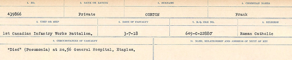 Circumstances of Death Registers– Source: Library and Archives Canada.  CIRCUMSTANCES OF DEATH REGISTERS, FIRST WORLD WAR Surnames:  CORBI TO COZNI.  Microform Sequence 23; Volume Number 31829_B016732. Reference RG150, 1992-93/314, 167.  Page 237 of 900.