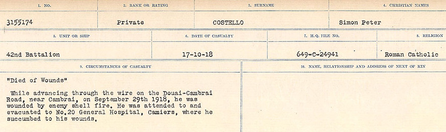 Circumstances of Death Registers– Source: Library and Archives Canada.  CIRCUMSTANCES OF DEATH REGISTERS, FIRST WORLD WAR Surnames:  CORBI TO COZNI.  Microform Sequence 23; Volume Number 31829_B016732. Reference RG150, 1992-93/314, 167.  Page 291 of 900.