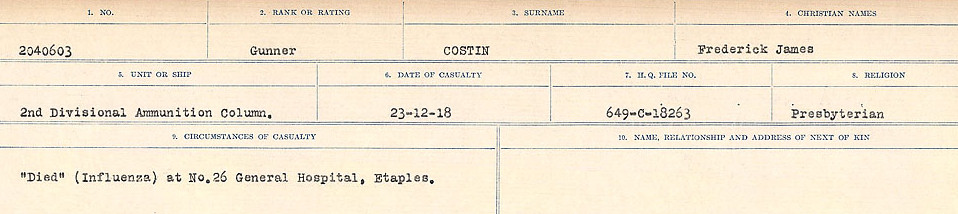 Circumstances of Death Registers– Source: Library and Archives Canada.  CIRCUMSTANCES OF DEATH REGISTERS, FIRST WORLD WAR Surnames:  CORBI TO COZNI.  Microform Sequence 23; Volume Number 31829_B016732. Reference RG150, 1992-93/314, 167.  Page 303 of 900.