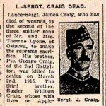 Newspaper Clipping 2– Tribute to the Craig family.