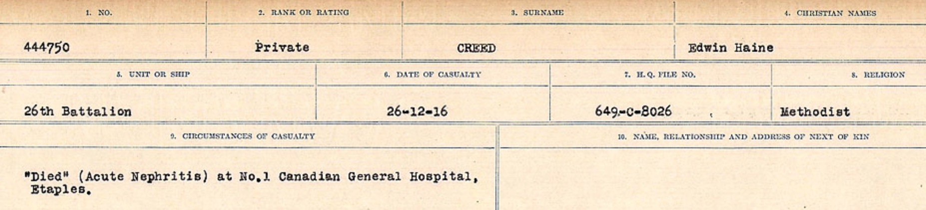 Circumstances of death registers– Source: Library and Archives Canada. CIRCUMSTANCES OF DEATH REGISTERS, FIRST WORLD WAR Surnames: CRABB TO CROSSLAND Microform Sequence 24; Volume Number 31829_B016733. Reference RG150, 1992-93/314, 168. Page 435 of 788.