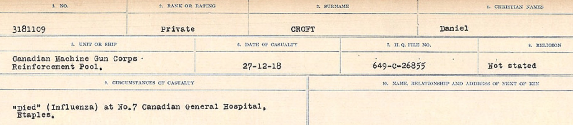 Circumstances of death registers– Source: Library and Archives Canada. CIRCUMSTANCES OF DEATH REGISTERS, FIRST WORLD WAR Surnames: CRABB TO CROSSLAND Microform Sequence 24; Volume Number 31829_B016733. Reference RG150, 1992-93/314, 168. Page 607 of 788.
