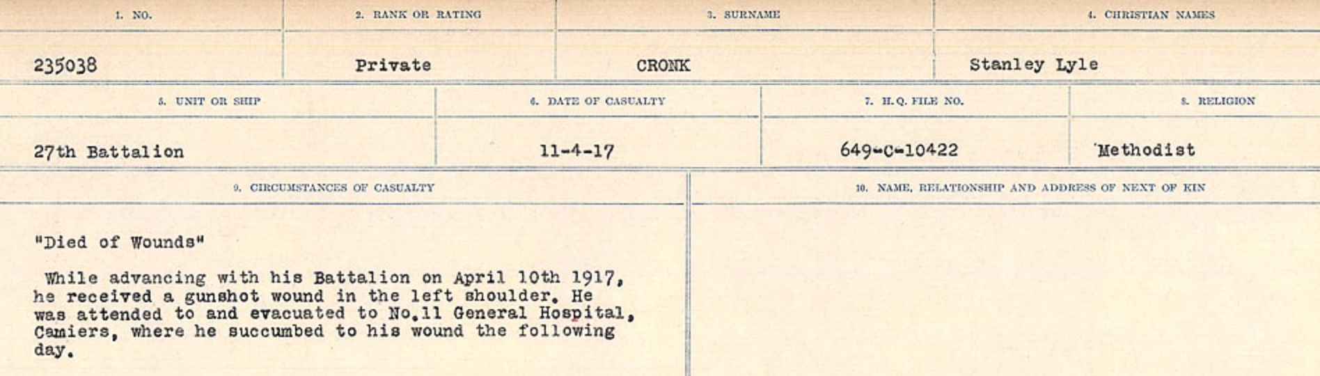 Circumstances of death registers– Source: Library and Archives Canada. CIRCUMSTANCES OF DEATH REGISTERS, FIRST WORLD WAR Surnames: CRABB TO CROSSLAND Microform Sequence 24; Volume Number 31829_B016733. Reference RG150, 1992-93/314, 168. Page 667 of 788.