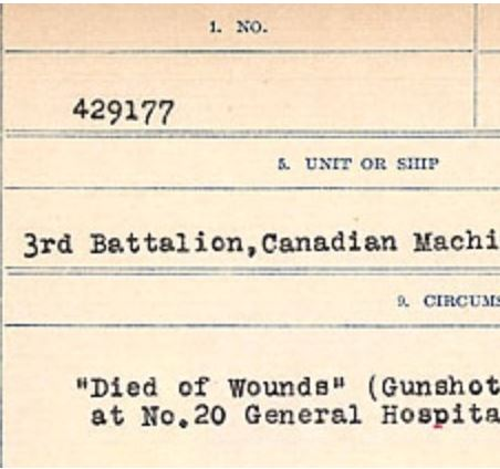 Circumstances of death registers– Source: Library and Archives Canada. CIRCUMSTANCES OF DEATH REGISTERS, FIRST WORLD WAR Surnames: CRABB TO CROSSLAND Microform Sequence 24; Volume Number 31829_B016733. Reference RG150, 1992-93/314, 168. Page 773 of 788.