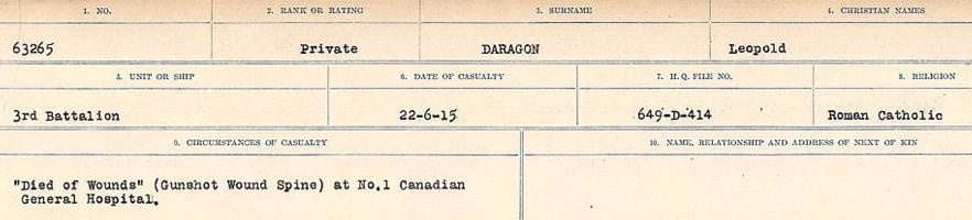 Circumstances of death registers– Source: Library and Archives Canada. CIRCUMSTANCES OF DEATH REGISTERS, FIRST WORLD WAR Surnames: Dack to Dabate. Microform Sequence 26; Volume Number 31829_B016735. Reference RG150, 1992-93/314, 170. Page 383 of 1140.