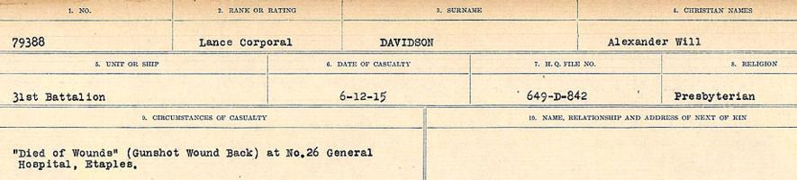 Circumstances of death registers– Source: Library and Archives Canada. CIRCUMSTANCES OF DEATH REGISTERS, FIRST WORLD WAR Surnames: Dack to Dabate. Microform Sequence 26; Volume Number 31829_B016735. Reference RG150, 1992-93/314, 170. Page 595 of 1140.